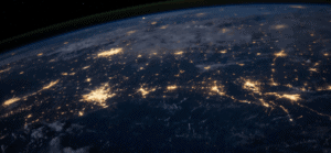 Night view of earth from space